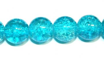 85pcs x 10mm turquoise glass crackled beads -- 3005048